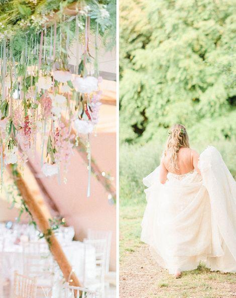 Hanging Flower Installation   Brinkburn Priory   Liz Martinez Wedding Dress   Sarah-Jane Ethan Photography