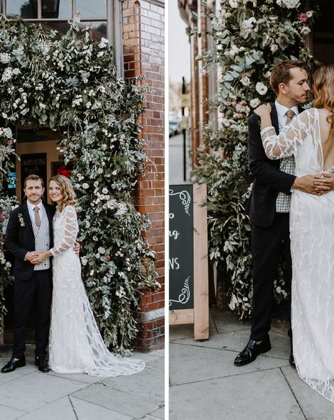 Floral Arch and Bride in Batwing Sleeve Halfpenny Dress for London Pub Wedding at The Star in Highgate, Images by Caitlin + Jones Photography