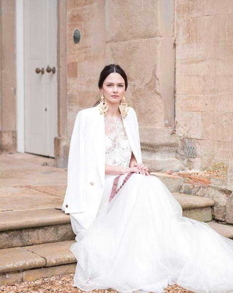 Jesus Peiro Wedding Dresses with Statement Accessories, Elegant Hair & Makeup and Minimalist Dried Flowers