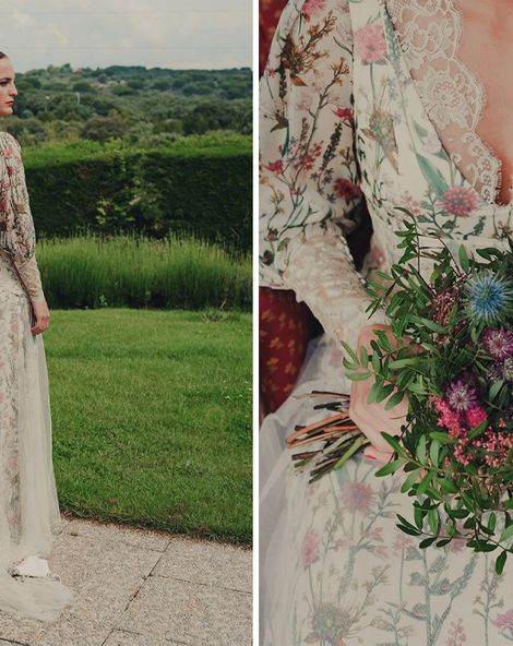 Bride in Floral Print Bespoke Wedding Dress with Silk, Tulle and Lace Detail for an Intimate Spanish Wedding