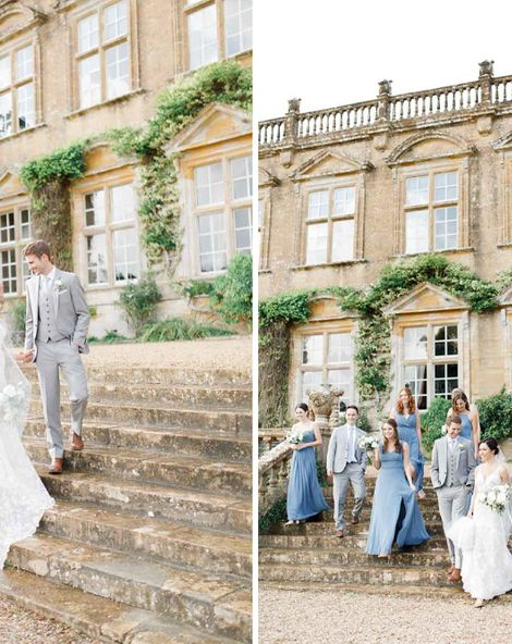 Blue Bridesmaid Dresses For Classic Wedding At Brympton House
