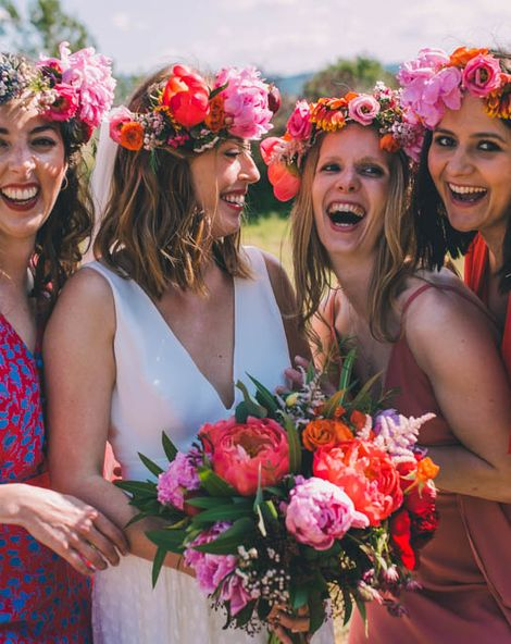 Flower Crown For Bride with Pink Peony Wedding Bouquet In France
