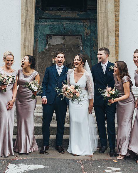 Dusky Pink Bridesmaid Dresses for City Wedding at The Asylum