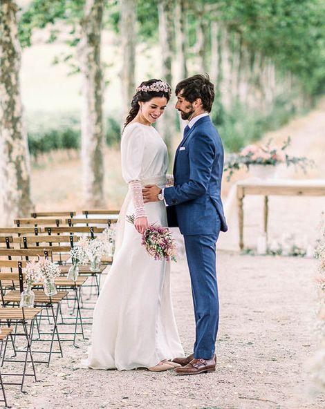 Astilbe Wedding Bouquet & Victoria Imaz Minimalist Wedding Dress