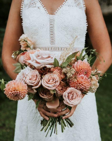 Dahlia Wedding Bouquet at National Trust Barn Wedding in Evesham