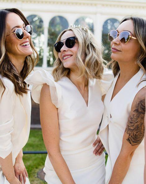 White Bridesmaid Dresses At Vibrant Botanical Wedding In Liverpool