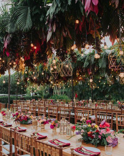 Bali Wedding Venue With Tropical Bright Flower & Light Installation