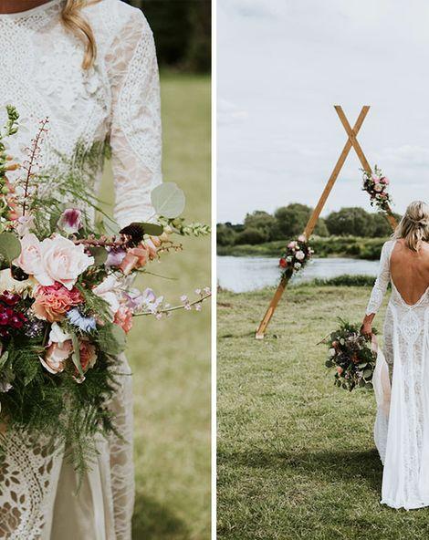 Wildflower Bouquet & Grace Loves Lace Bride Dress For Tipi Celebration