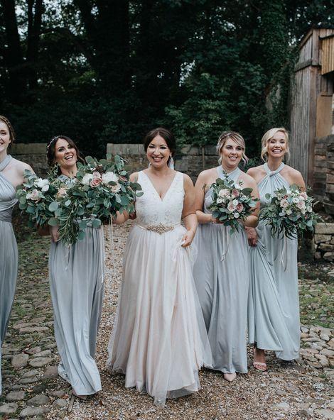 Multiway Bridesmaid Dresses & Blush Bridal Gown