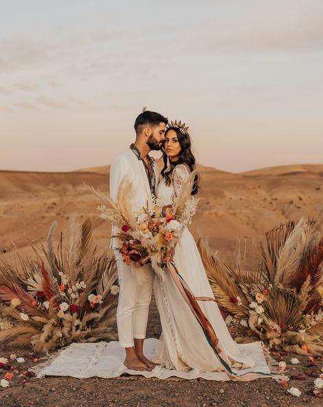 Moroccan Wedding Desert Elopement for Boho Bride in Grace Loves Lace