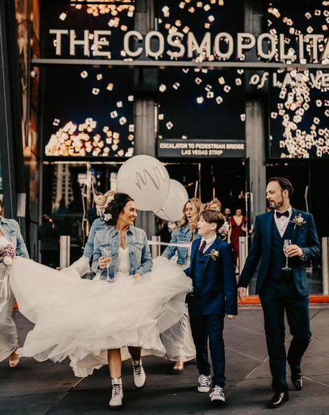 Las Vegas Wedding at The Cosmopolitan with Personalised Denim Jackets