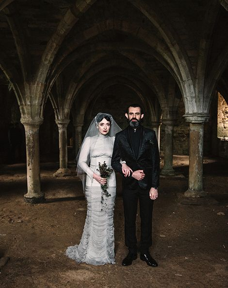 Gothic Wedding with Silver Corset Bridal Dress and Floral Headpiece