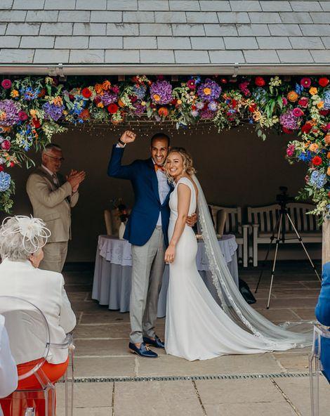Bright Wedding Decorations & Gin Bar at Dartmoor Wedding