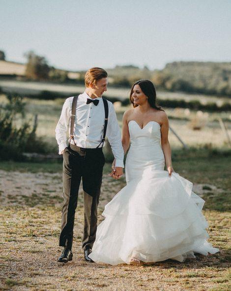 Farbridge Wedding Venue with Strapless Fishtail Bride Dress & Neon Sign