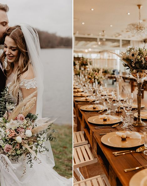 Brown Wedding Suit & Dried Flowers at Boho Celebration in Germany