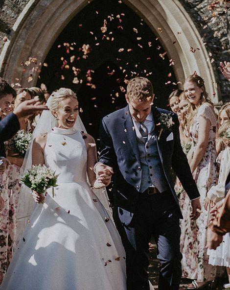 Suzanne Neville Wedding Dress for Glasshouse Wedding in Devon