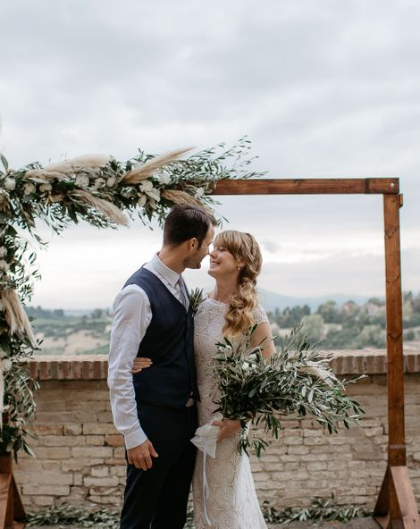 Side Ponytail & Daughters of Simone Dress at Destination Wedding in Italy