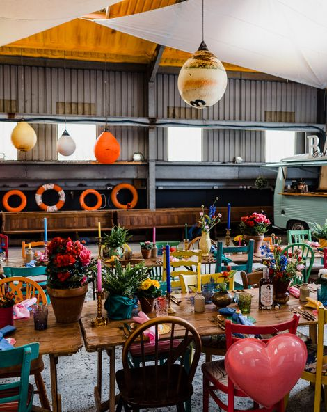 Colourful Wedding Theme in a Boat Shed with Kitsch Decor & Details