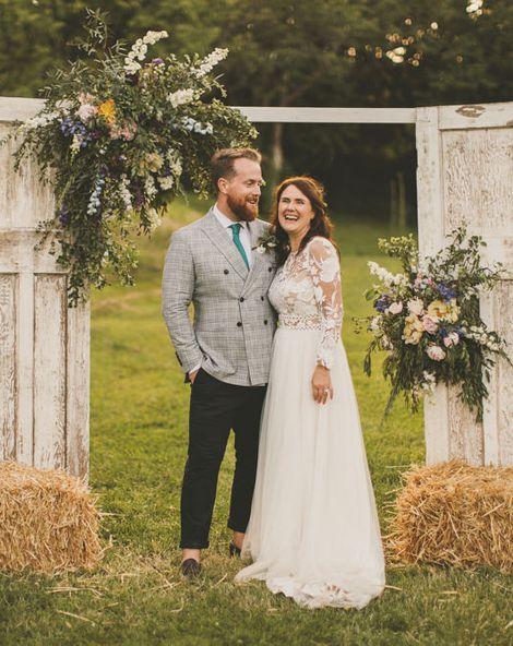 Macrame Table Runner & Green Bridesmaid Dresses for Devon Wedding