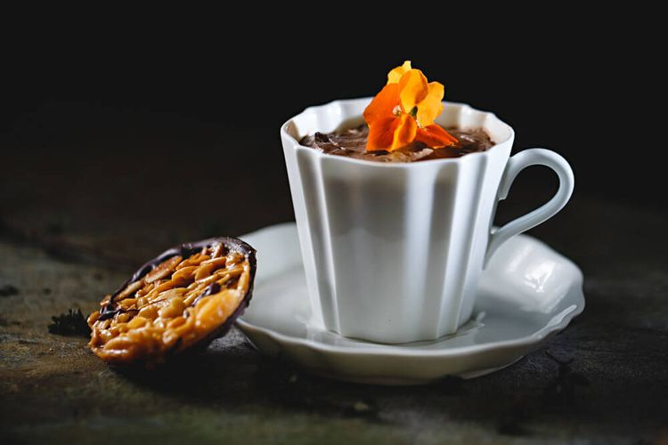 Chocolate orange mousse with a Florentine