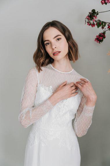 kate beaumont kate beaumont sheffield geranium applique lace silk modern minimal long sleeved wedding gown 1