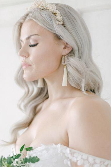 aureus flos silvan cream tassel bridal earrings aureus flos fine art wedding accessories luxury modern bridal headpieces and jewelry 12