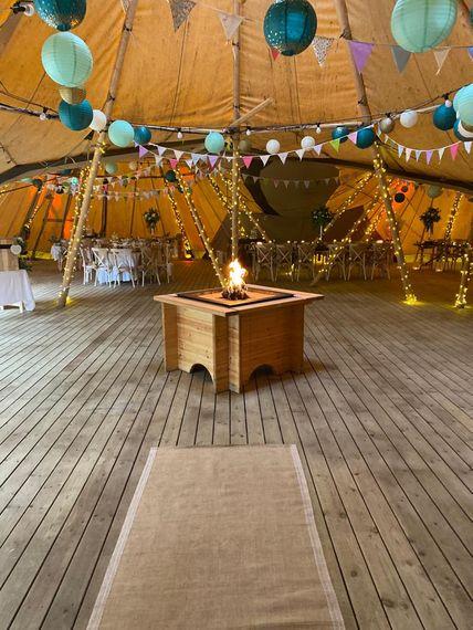 kielder waterside tipi weddings inside with fire pit