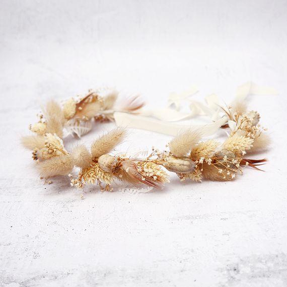 mary elizabeth flowers beige flower crown