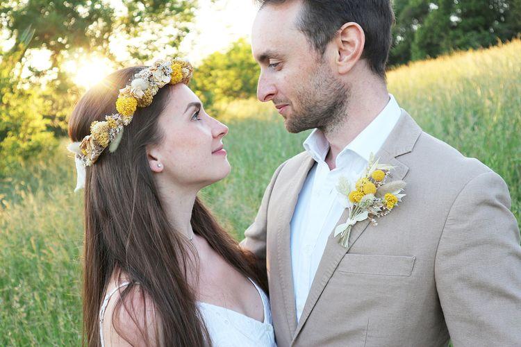 mary elizabeth flowers yellow dried flower wedding accessories