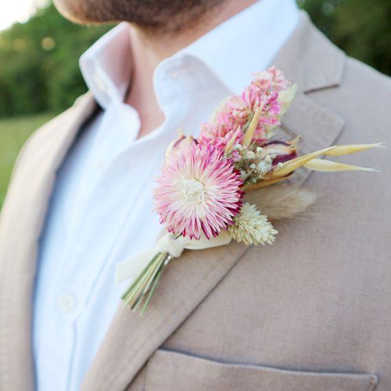 mary elizabeth flowers pink dried flower wedding buttonhole