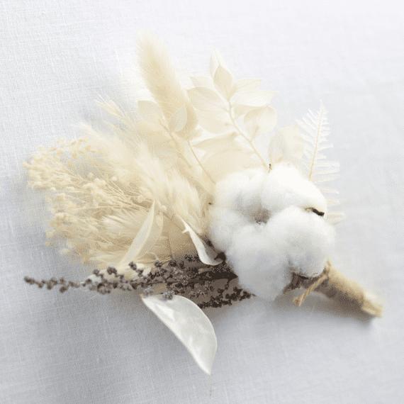 shida preserved flowers white wedding buttonhole