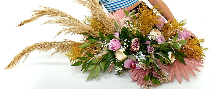 florals of splendour pink roses  dry grass display 17 copy