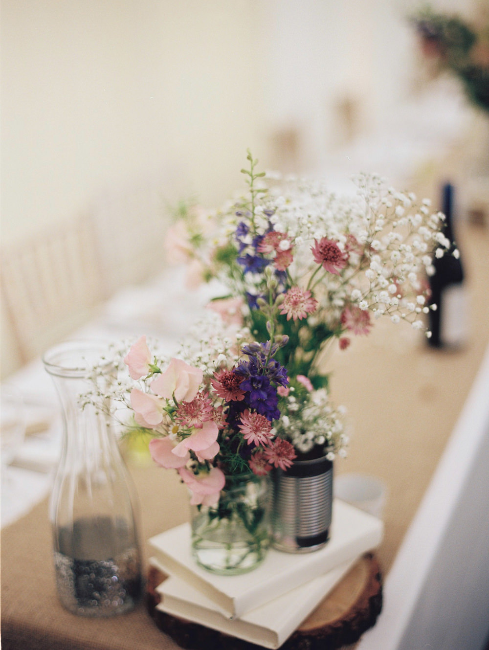 10 ways to have a beautiful budget wedding rock my wedding uk wild flowers in tin cans junglespirit Gallery
