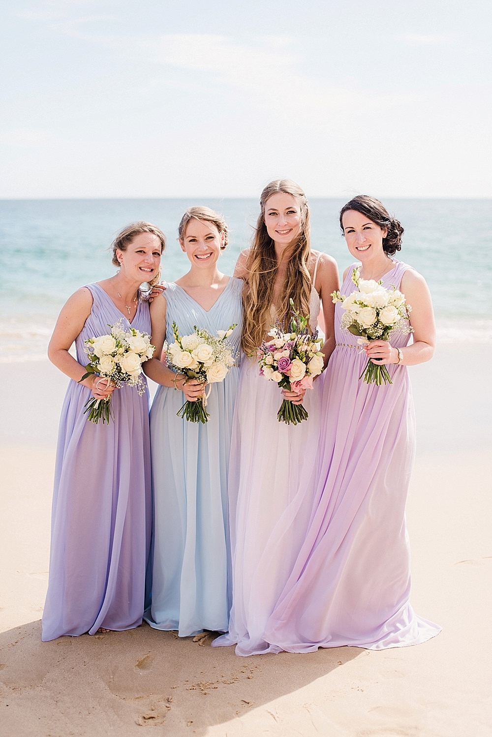 Boho Beach Wedding With Bride In High Street Separates Bridesmaids In Pastel Dresses,Mermaid Most Popular Wedding Dresses