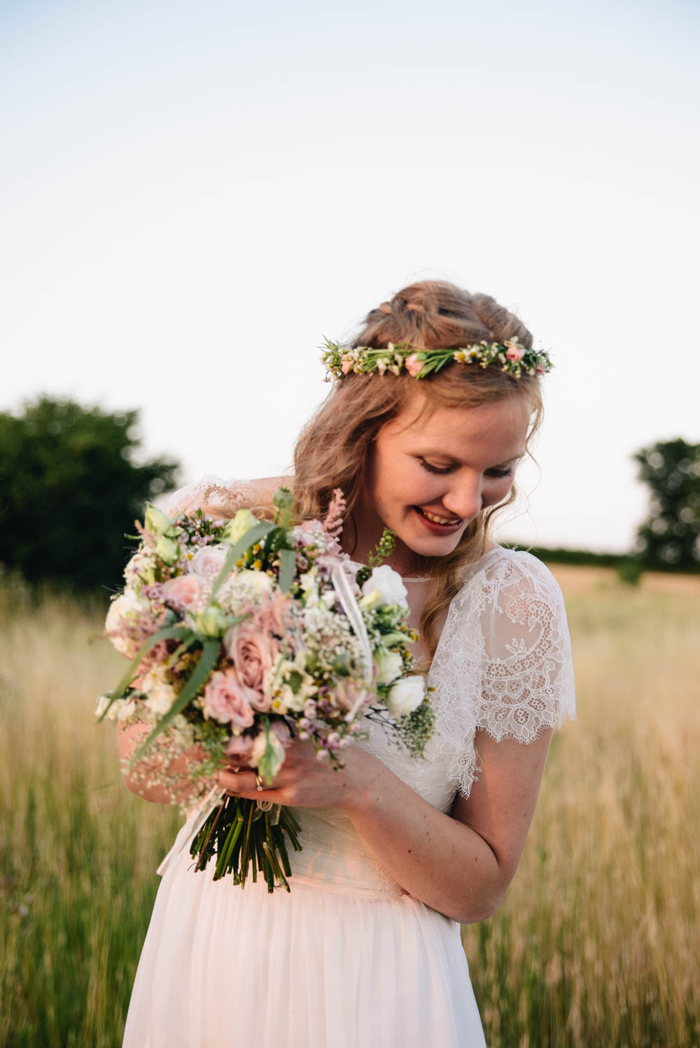 Bride In Bespoke Lace Wedding Dress Flower Crown For A Diy Marquee