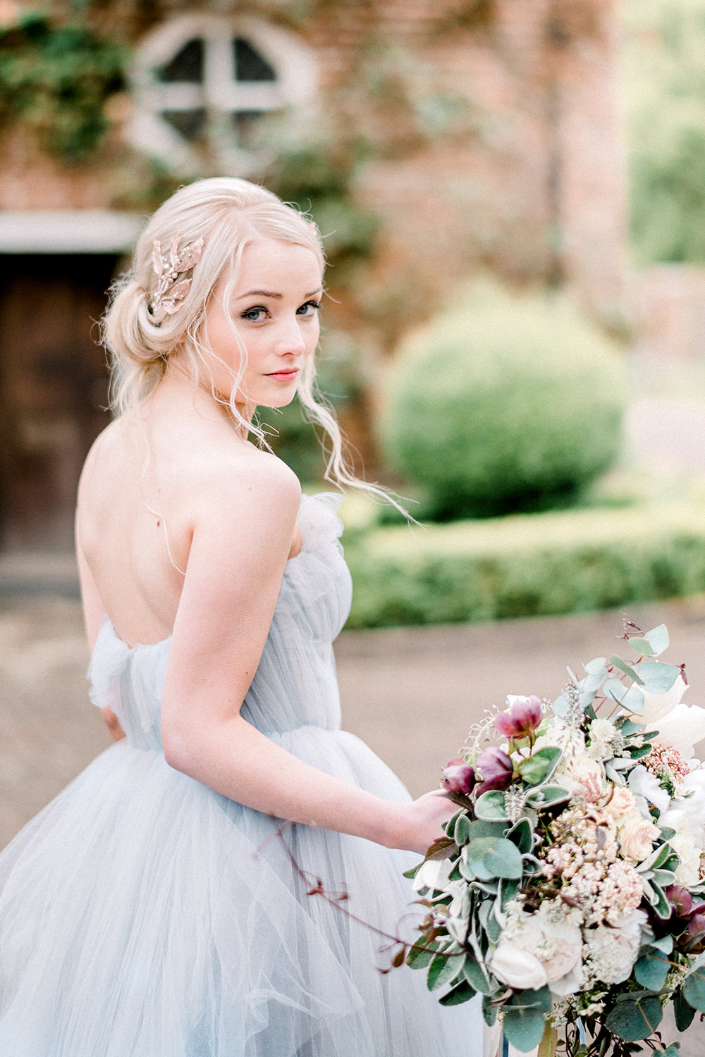 Romantic Floral Bridal Inspiration with Blue Tulle Gown by Kathryn ...