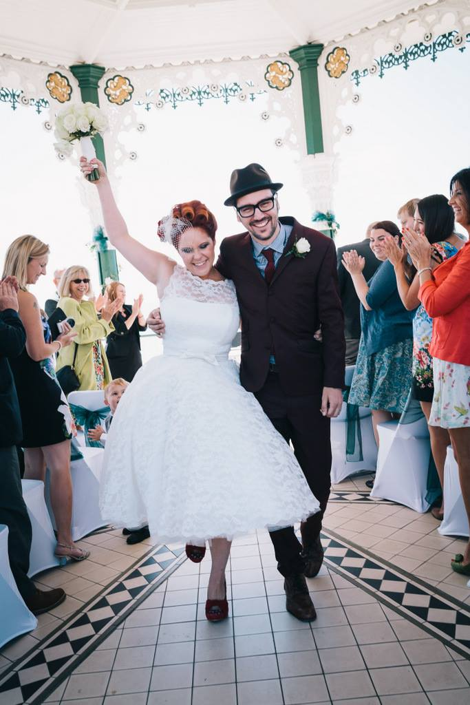 7f78bdd30627 50s Mod Inspired Wedding With An Outdoor Ceremony At Brighton Bandstand And  Reception At Stanmer House With Bride In Candy Anthony Gown And Red  Irregular ...