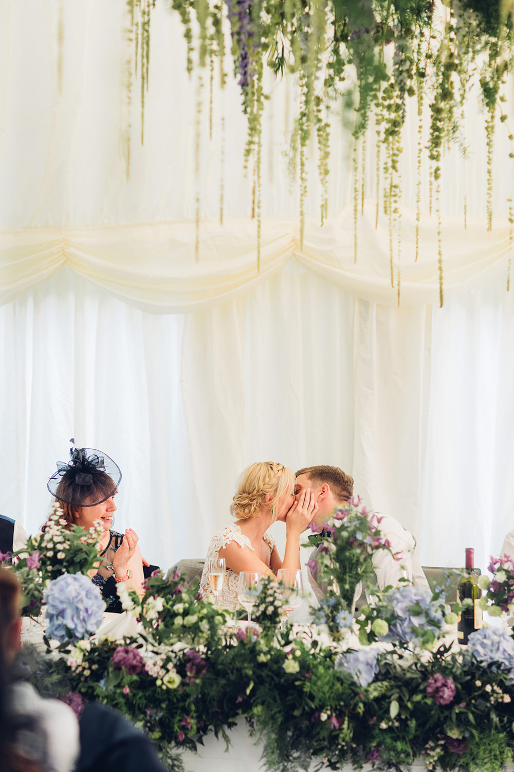 Woodland Marquee Reception with Hanging Floral Arrangements by Amie ...