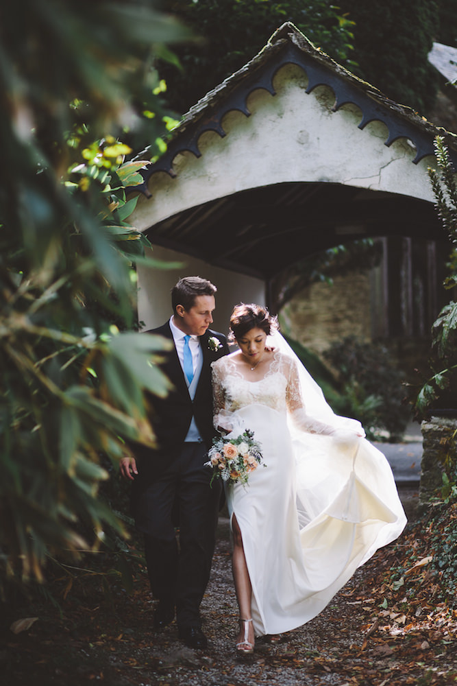 ae8dfaded23 An empire wedding dress for a Cornish wedding using traditional ...