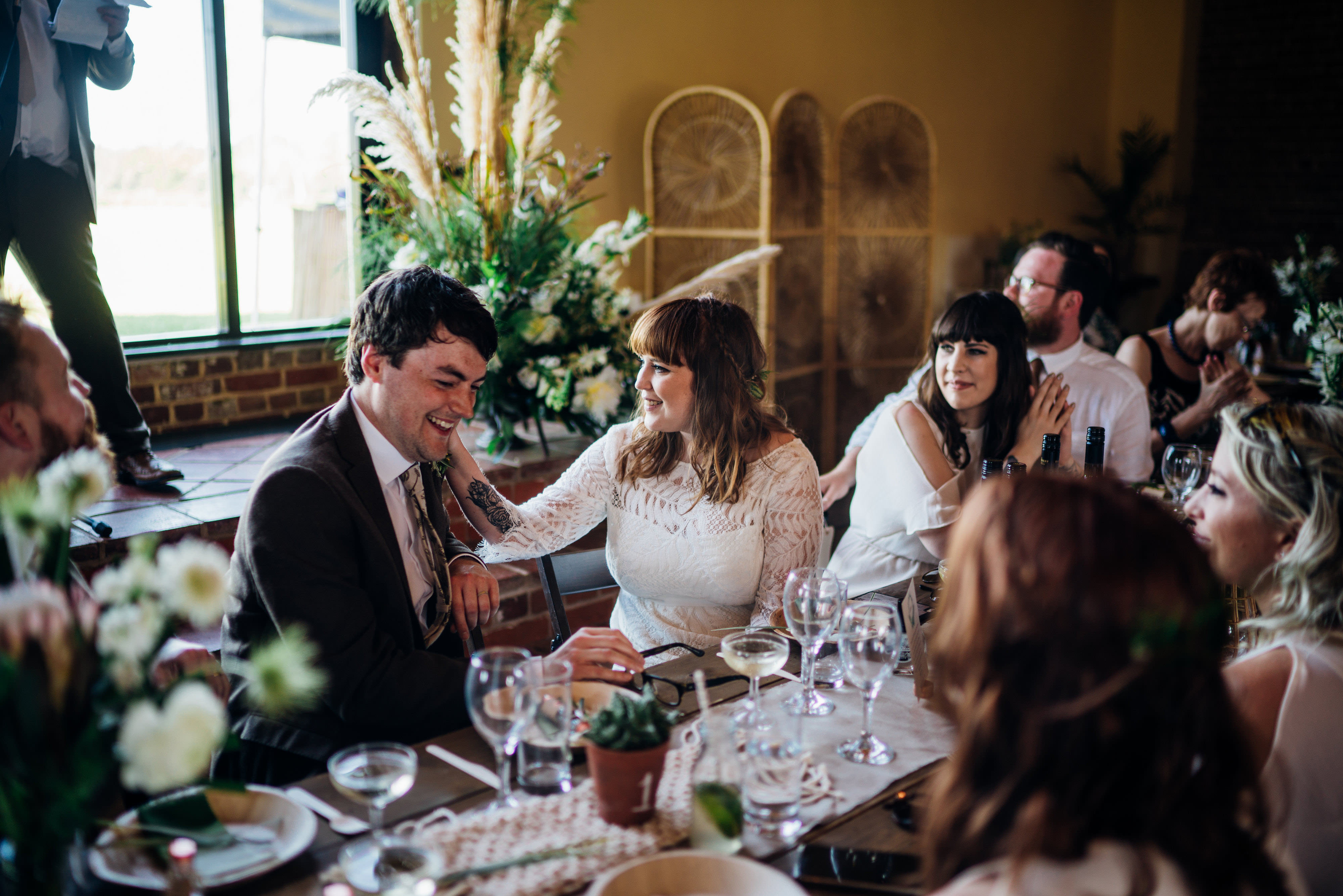 Bohemian wedding at woodfarm barn suffolk with macrame wedding reception bride in lucy cant dance jungle fever bridal gown groom ombrellifo Choice Image