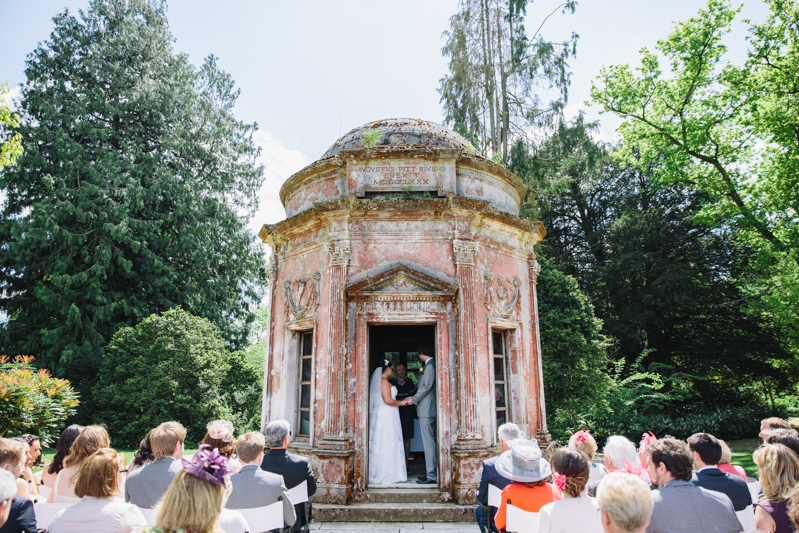 Intimate Wedding At The Roman Temple In The Larmer Tree Gardens With Bride In Eternity Bride Gown