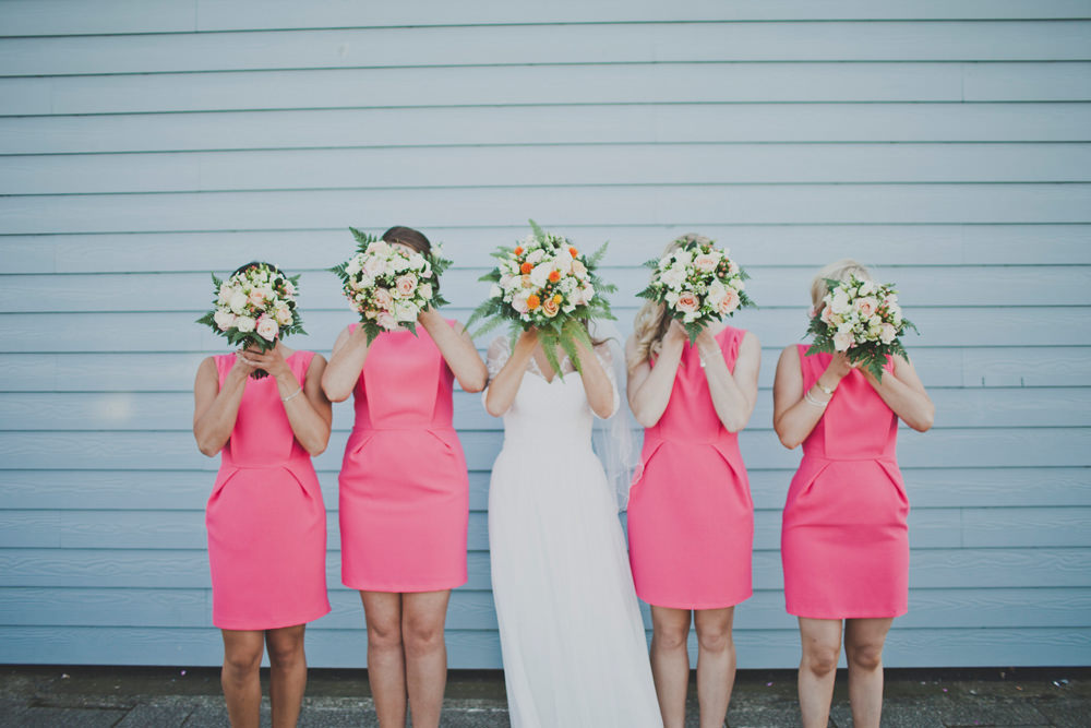 Personalised plain gown with Lace & Bright Pink Bridesmaid Dresses ...