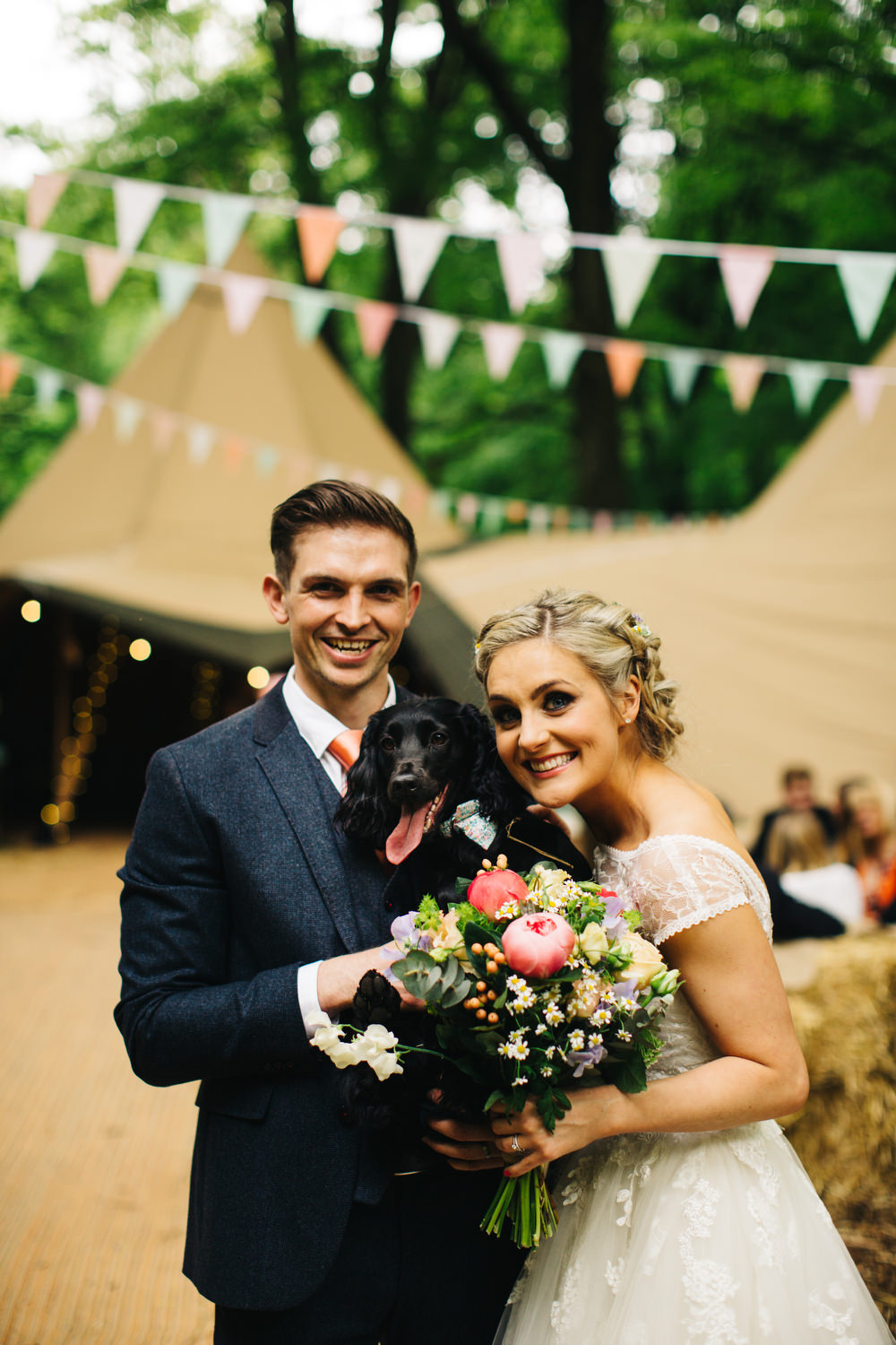 Diy rustic outdoor tipi wedding at ecclesall woods in sheffield bridesmaid dresses bride in short blue by enzoani danbury gown groom in navy ted baker suit with ombrellifo Choice Image