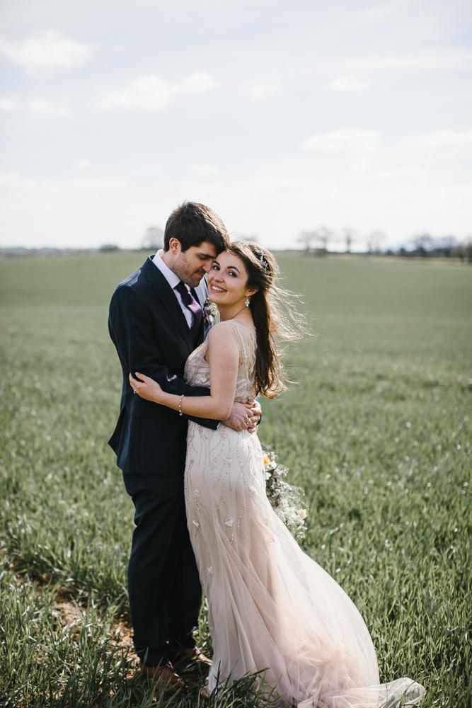 Bride In Sequin Wedding Dress