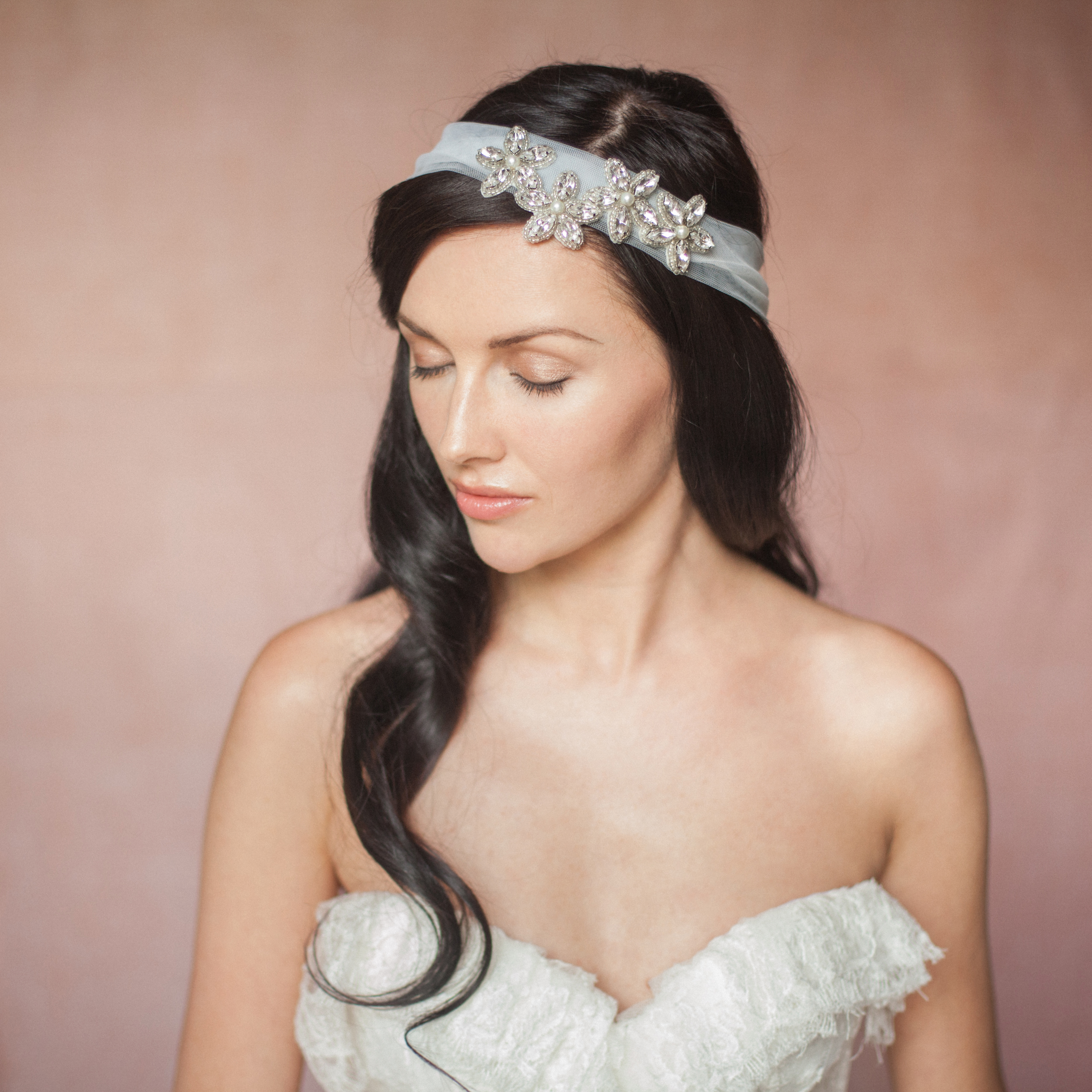 Ila Wedding Bridal Flower Hairband On Tulle By