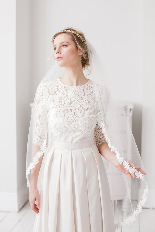 Ferne Leaf Lace Wedding Veil