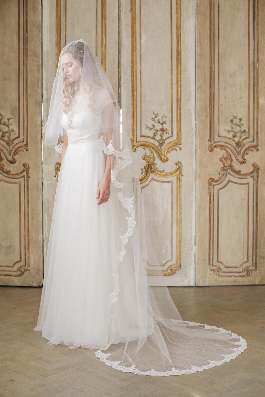 Lucia Two Tier Semi Edge Lace Wedding Veil