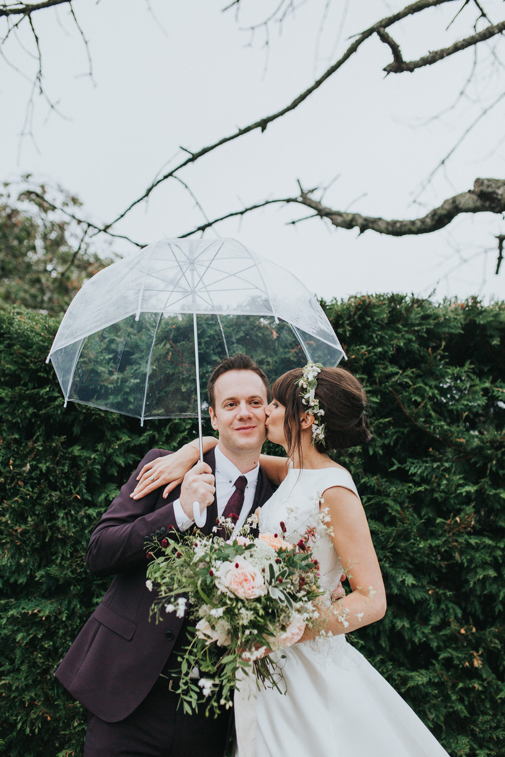 Delicate flower crown for a rustic church of england wedding rain on wedding day izmirmasajfo