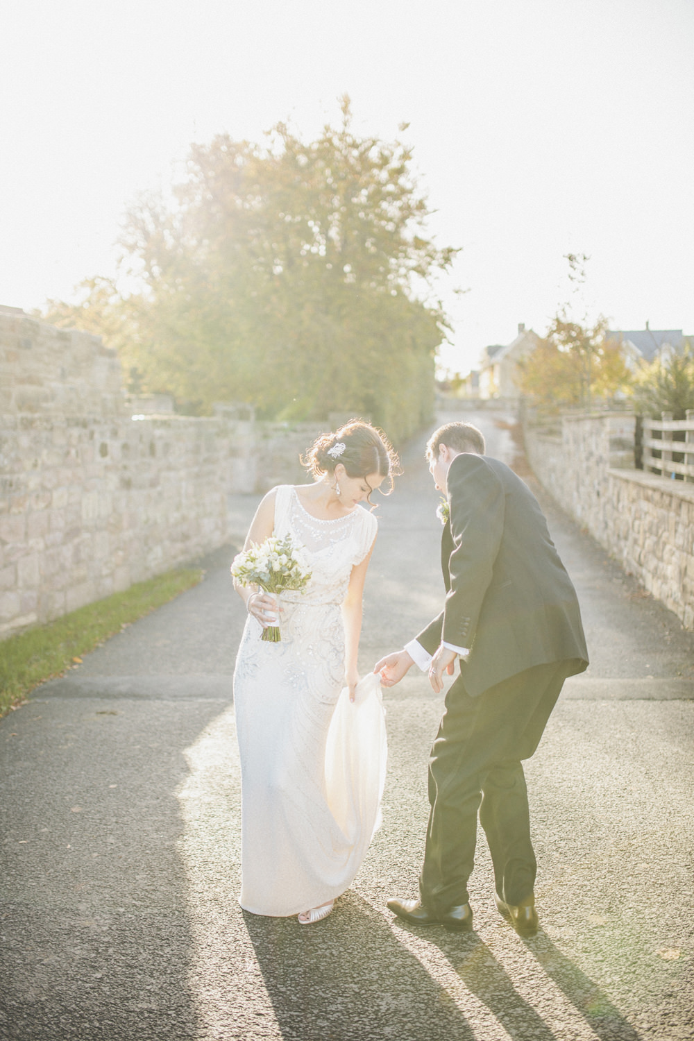 Esme by Jenny Packham gown for a wedding at Ellingham Hall with a ...