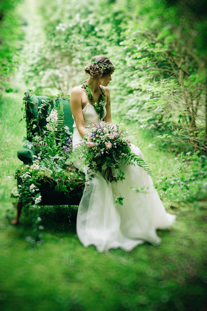 Woodland Flower Fairy Inspired Bridal Shoot With Dresses